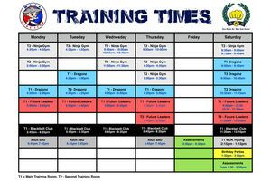 Martial Arts training times